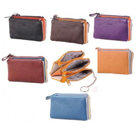 Porte-monnaie/porte clés multi couleur